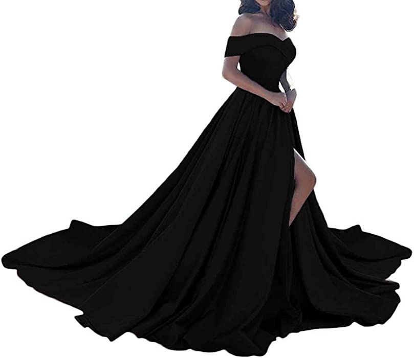 513543ef61d99 JQLD Women's Sexy Off The Shoulder Long Slit Prom Dresses 2018 Elegant  Satin Evening Party Gowns US2 Black at Amazon Women's Clothing store: