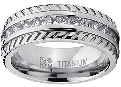 Ultimate Metals Co.® Bague de mariage en titane avec Chevron design et zircone cubique. Pour Homme, Intérieur Confort