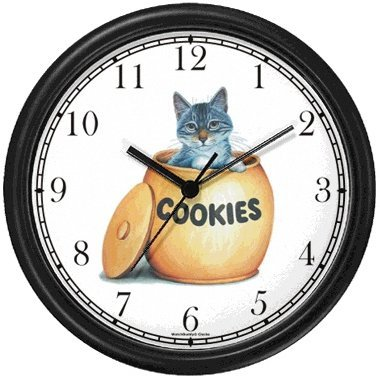 Gray Tabby Cat Kitten in Cookie Jar Cat - JP - Wall Clock by WatchBuddy Timepieces (White Frame)
