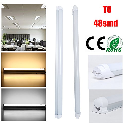 Excellent Integrated T8 9W LED Tube Lamps Lights Warm White 0.6m/2Ft (Pack 0f 10)