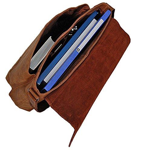 Branco Schultertasche aus Vintage-Leder, Umhängetasche im lässigem Look GoBago (Dunkelbraun) Dunkelbraun