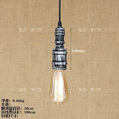Tuyau de fer à une tête pour le balcon de la salle à hommeger de la chambre à coucher avec ampoule en tungstène, argent C