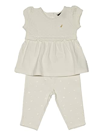 b72d0a605d1ee Nautica Baby Girls' Fashion Top with Capri Legging Set,Quilted Cream,3  Months