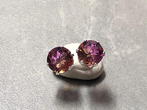 6mm Faceted Round Ametrine Prong set in Sterling Silver Post Earrings