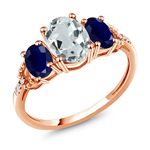 Sapphire Accent Ring (2.24 Ct Oval Sky Blue Aquamarine Blue Sapphire 10K Rose Gold Diamond Accent Ring (Size 6))