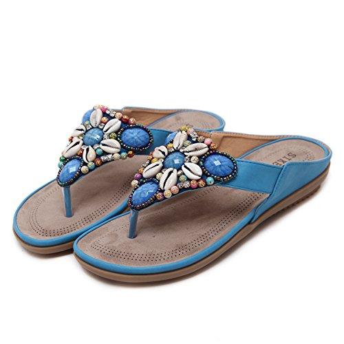 Belloo Damen Sommer Strand Flip Flops Boho Sandalen Flach Zehentrenner mit Muscheln Blumen Blau