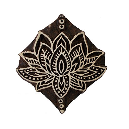 CraftyArt Lotus Flower Design Wooden Textile Printing Block Clay Potter Craft Heena Tattoo Scrapbook Stamps -