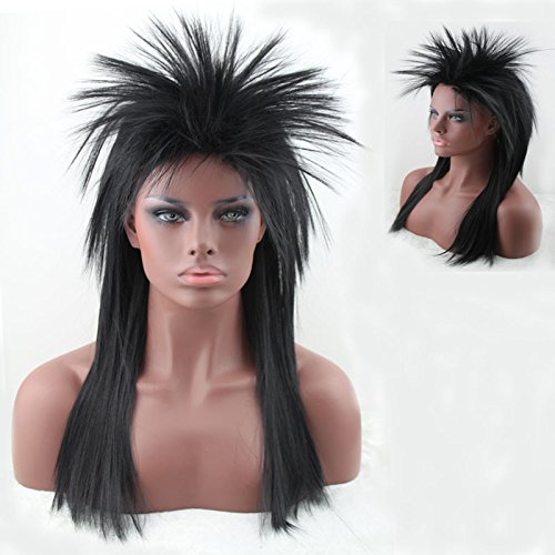 Women's 80's to the Maxx Spiky Rocker Wig Rock Star Black Straight Spiked Wig Cosplay Wigs Party Hair for Black Women (Easy 80's Costumes To Make)