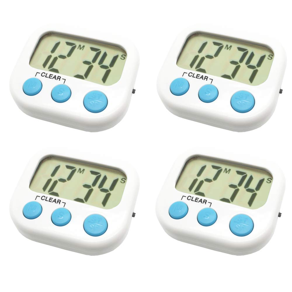 4 Pack Digital Kitchen Timer Magnetic Back Big LCD Display Loud Alarm Minute Second Count Up Countdown With ON/OFF Switch For Kitchen, Homework, Exercise, Game(4 White)