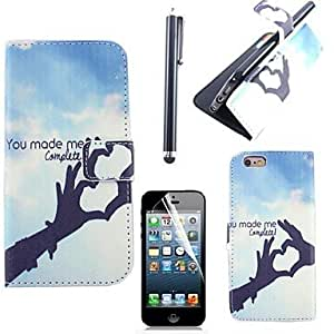 LZX Sign Language Of Love Pattern PU Leather Cover with Card Slot with Touch Pen and Protective Film for iPhone 6