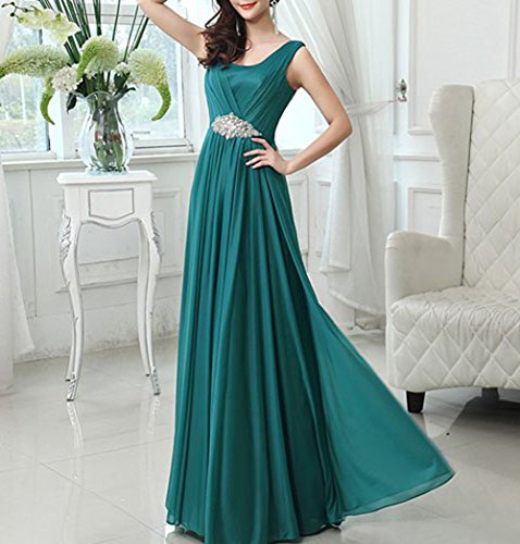 CaliaDress Dress Crystal Bridesmaid Formal Turquoise Gown C159LF Sleeveless Women Long awr5qaX