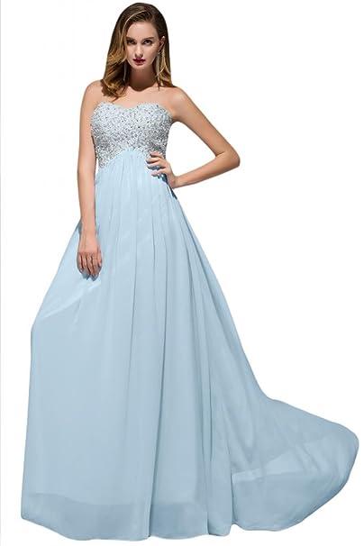 Sunvary niña plisado volantes vestidos de dama de corazones gasa Prom Fiesta Azul azul