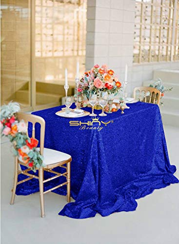 Glitter Tablecloth Sequin Tablecloth Table Cloth Sequin Table Linens Shimmer Black Table Cloth christmase/Happy New Year (90x156-Inch, Royal Blue)