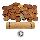 Lincoln Wheat Penny Roll (50 Coins) & 1 gram of Fine Silver Indian Head Bullion by AIIZ Collectibles, Mixed Years & Mints (1909-1958 PDS) Circulated Good to Unc in Old Window Wrapped Penny Roll
