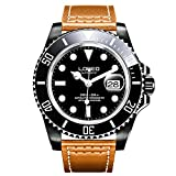 LOREO Mens GMT Rotating bezel Black Stainless Steel Sapphire Glass Automatic Leather band Watch