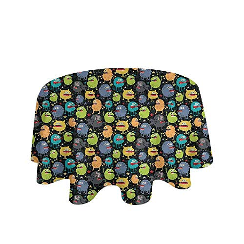 Alien Printed Tablecloth Cute Funny Characters Cartoon Style