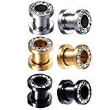 BodyJ4You 3 Pairs Screw Fit Ear Gauge Hollow Tunnels 0G (8mm) Clear CZ Crystal Jeweled Plugs Stretcher Set