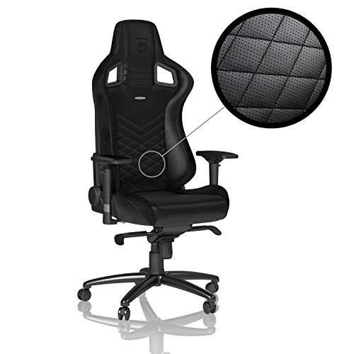 5130vNF3pcL - noblechairs-EPIC-Gaming-ChairOffice-Chair--Vegan-Friendly-PU-Leather--Ergonomic--Up-to-265lbs-Users--135-Reclinable--Wheels--Arm-Rests-Adjustable-in-4-Dimensions--Racing-Seat-Design--Black