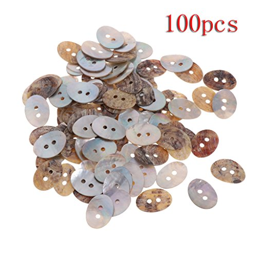 (Aixia 100Pcs 18x13mm Natural Shell Tiny Mini Oval Buttons 2 Holes For Sewing DIY Craft)