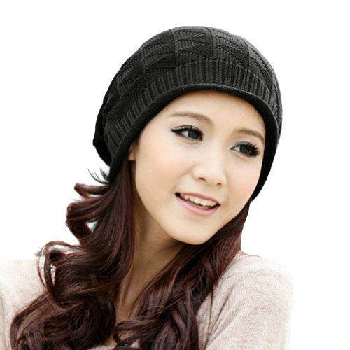 LOCOMO Hats Women Girl Pattern Slouchy Knit Beret Beanie Crochet Rib Hat Cap Warm (Black)