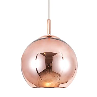Mzithern Modern Mini Globe Pendant Lighting with Hand-Blown Clear Glass,Adjustable Glass Mirror Ball Pendant Lamp for Living Room Kitchen Island Hallways Bar Cafe,Polished Copper Finish,Copper,12in