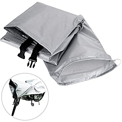 Zacro Waterproof Bike Cover 190T nylon Extra Heavy Duty Outdoor Bicycle Cover for Road Bike, Mountain Bike ( Silver&Black)