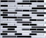 kitchen back splashes WALL DIMENSION Easy Peel & Stick 3D Vinyl Mosaic Black Grey Silver Tile for Kitchen and Bathroom Back Splash Border. Set of 4 Tile Sheets. 2.83 sf. WM-108C