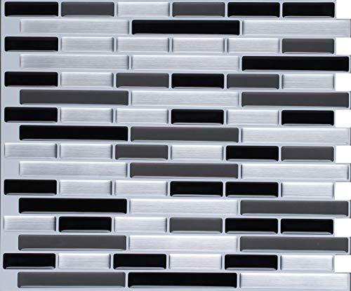 WALL DIMENSION Easy Peel & Stick 3D Vinyl Mosaic Black Grey Silver Tile for Kitchen and Bathroom Back Splash Border. Set of 4 Tile Sheets. 2.83 sf. WM-108C