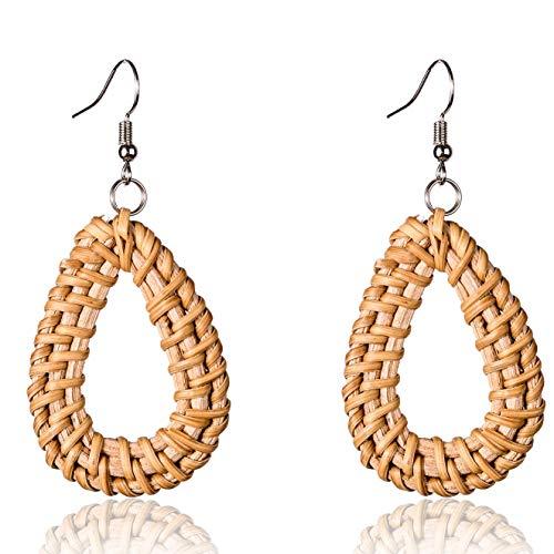 Rattan Earrings Hoops Women Handmade Straw (1 Pairs)