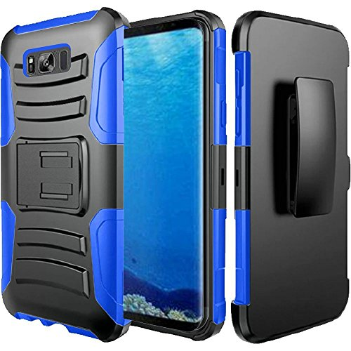 HTC U11 Case, HTC Ocean case, Luckiefind Dual Layer Hybrid Side Kickstand Cover Case With Holster Clip with Stylus pen Accessory (Holster Blue)