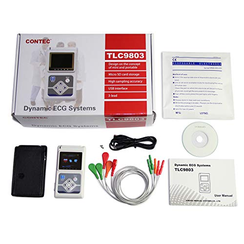 CONTEC TLC9803 Dynamic 48hours 12 Lead ECG/EKG Holter Monitor Alalyzer  Software Portable CE (3 channel-TLC9803)