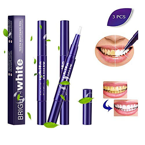 Coleli Teeth Whitening Pen, 3 Pack Teeth Whitening Gel Pens Effective Stain Remove Cleaning Tools - Beautiful White Smile, Safe, Painless, No Sensitivity, Travel-Friendly, Natural Mint Flavor (Purple)
