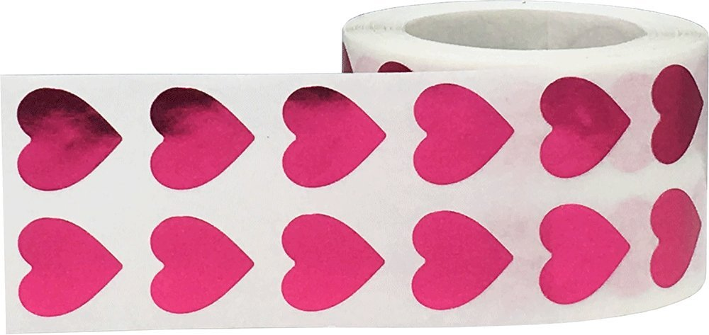 1000 Labels on a Roll 13 mm 1//2 Inch Wide White Heart Stickers