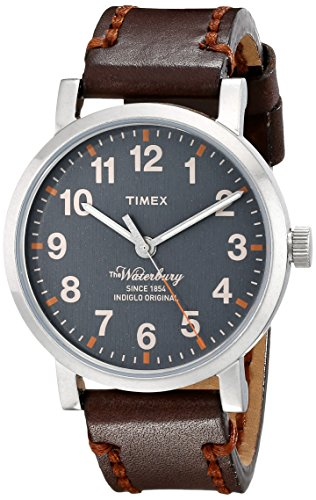 Timex Unisex TW2P58700 Waterbury Gray Dial Brown Leather Strap Watch