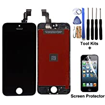 CELLPHONEAGE® For iPhone 5C Nwe LCD Touch Screen Replacement With Frame Digitizer Assembly Display Black With Free Repair Tool Kits + Free Screen Protector