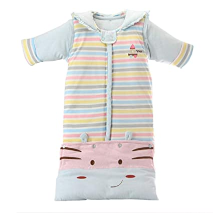 4f6be9bdb9c58 ERBEIOU Baby Swaddle Warm Sleep Wearable Quilted Blanket for Babies Autumn  and Winter Thick Hoodies Cotton