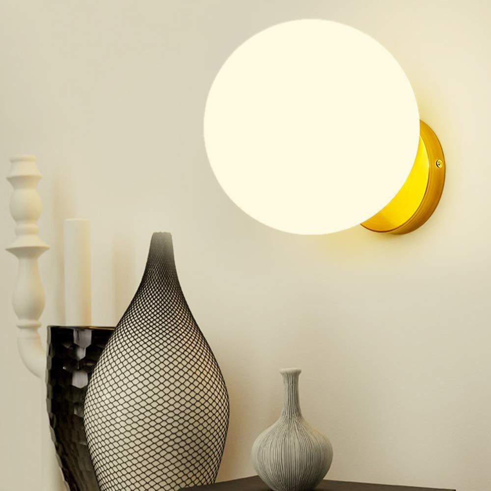 MJK Wandleuchte, Wandbeleuchtung 1 Flamme Gold Wandleuchten Glaskugel Eisen Flur Lampe innen Wandleuchten E27 Leselampe (Wandstrahler, Wohnzimmerlampe, Schlafzimmerlampe)  18cm