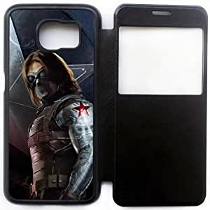 Wunatin Ultra Thin Windows View Flip Leather Case Cover For Samsung Galaxy S6,Superheroes-Bucky Barnes Samsung Galaxy S6 Cell Phone Case,BA-7753053