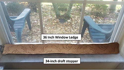 Monikas Marketplace Handmade Door Draft Stopper with Storage Bag 34-Inch Brown Suede