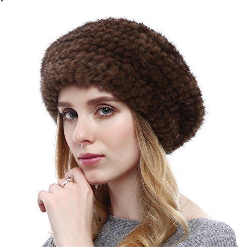 (Qhome Winter Autumn Women Beret Beanie Kinitted Mink Fur Hat Mink Fur Brand Female Hats Winter Fashion Formal Cap For)