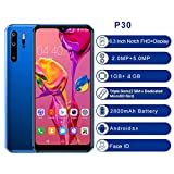 P30 Pro Face Unloked 6.3inch Mobile Phone - Four Camera 4G GPS 1900MHz Android Smartphone Big Battery - Dual SIM Card - Dolby Atmos Innovative Camera Gaming Smartphone (Blue)