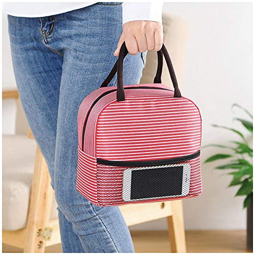 Ailler Portable Stripe Lunch Bag 8.3 x 4.7 x 8inch Thermal Canvas Food Container Tote Handbag Lunch Bags from ailler