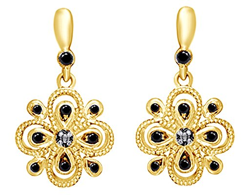 Round Cut Natural Black Diamond Accent Flower Drop Earrings in 14K Gold Over Sterling Silver by Wishrocks
