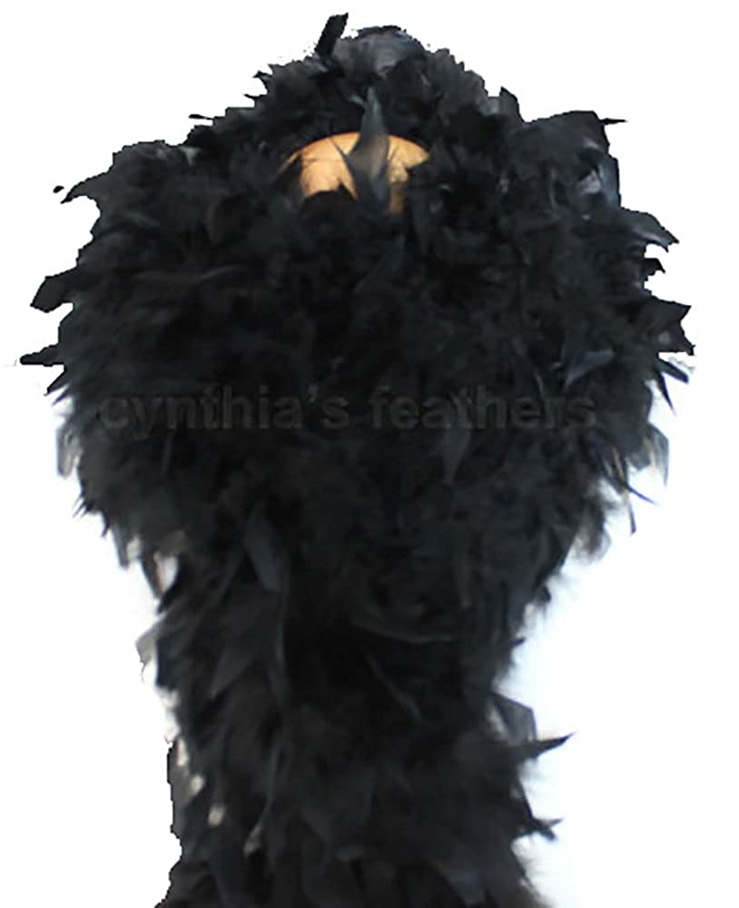 Cynthia's Feathers 80g Turkey Chandelle Feather Boas over 30 Color & Patterns (Black)