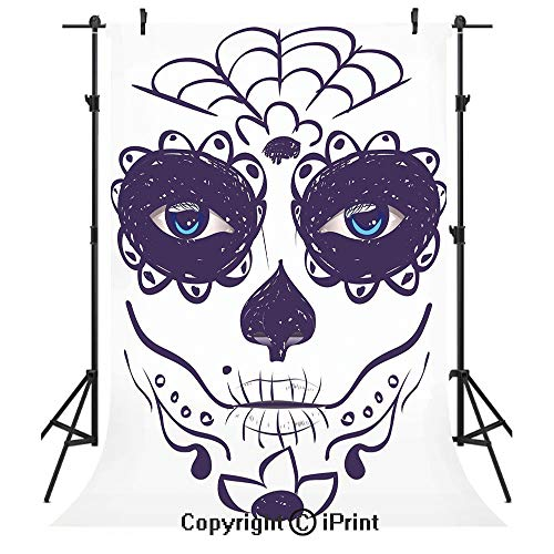 Day of The Dead Decor Photography Backdrops,Dia de Los Muertos Sugar Skull Girl Face with Mask Make up,Birthday Party Seamless Photo Studio Booth Background Banner 3x5ft,Black White and Blue -