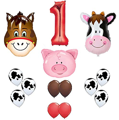 first birthday Farm Animal theme Balloons 36 Cow ,Donkey And Pig With 12 Helium Quality Latex Balloons Red Brown And Cow Print Balloons with the number 1 red foil balloon . Total Of 40 Count.