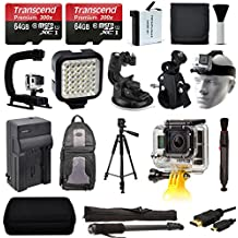 Ultimate Accessories Package for GoPro HERO4 Hero 4 Black Silver includes 128GB Memory + Battery + Charger + Stabilizer Grip + Video Light + Tripod + Backpack + Selfie Stick + Case + More