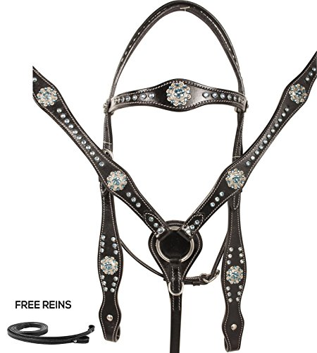 - TURQUOISE CRYSTAL BLACK LEATHER WESTERN HORSE TACK SET BREAST COLLAR REINS HEADSTALL (Standard)