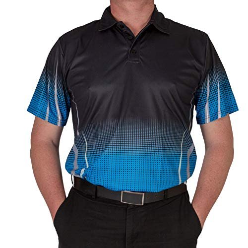 Men's Collared Short-Sleeve Polo Shirt for High Performance and Full-Range Motion on The Golf Course Gleneagles (Blue, Medium)