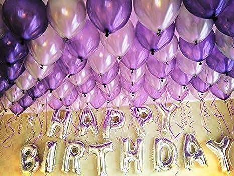 47747e7467c34 HorBous Paquete de 100 globos de decoración para fiestas de cumpleaños y  globos de letras «Happy Birthday»  Amazon.es  Juguetes y juegos